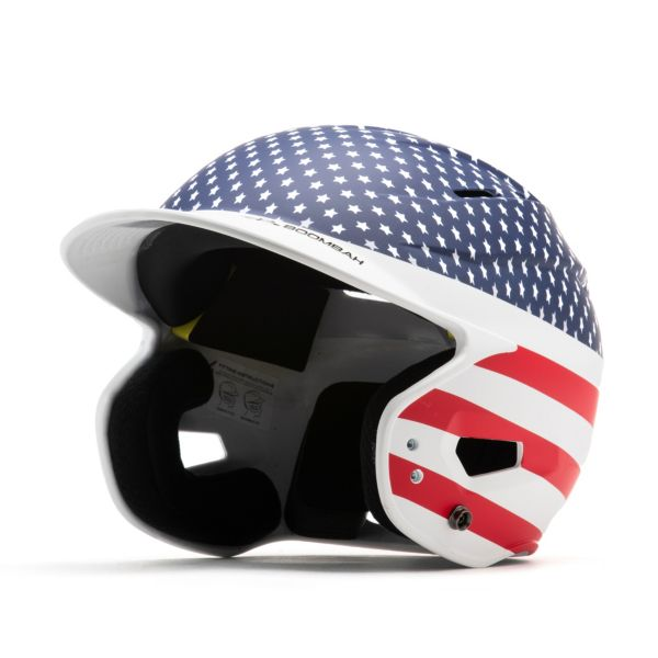 Boombah DEFCON Batting Helmet Sleek Profile Stars and Stripes Navy/White/Red