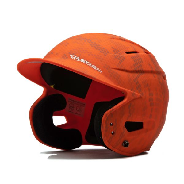Boombah DEFCON Swarm Camo Batting Helmet Sleek Profile Orange