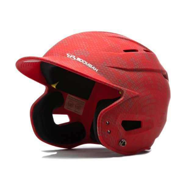Boombah DEFCON Swarm Camo Batting Helmet Sleek Profile Red