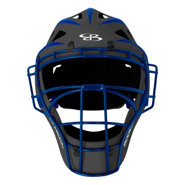 DEFCON 2.0 Rubberized Matte Hockey Style Catchers Helmet Dark Charcoal/Royal Blue