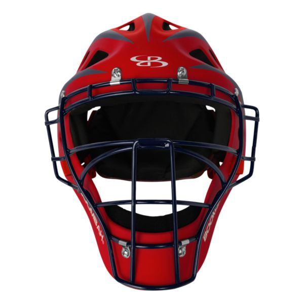 DEFCON 2.0 Rubberized Matte Hockey Style Catchers Helmet Red/Navy