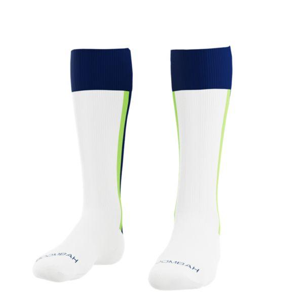 Loaded Mock Stirrup Socks White/Navy/Lime Green