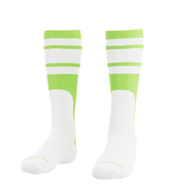 Men's Striped Mock Stirrup Socks Lime Green/White