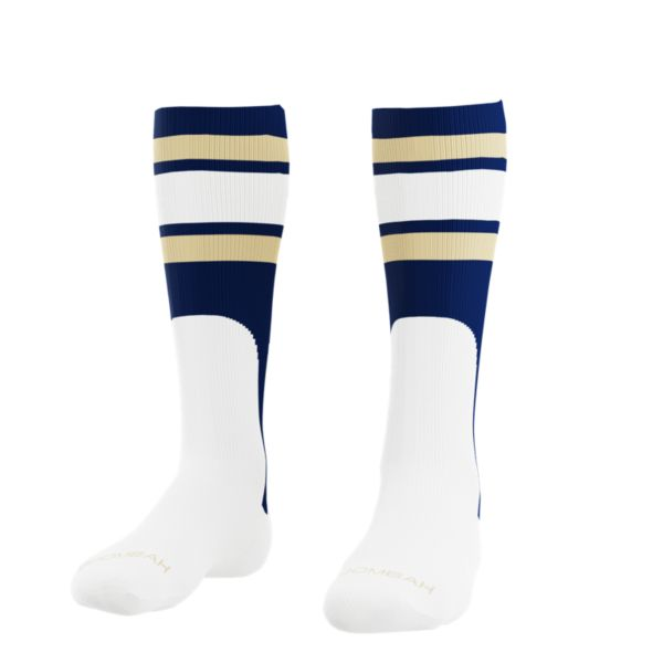 Men's Striped Mock Stirrup Grand Slam Socks Navy/White/Vegas Gold
