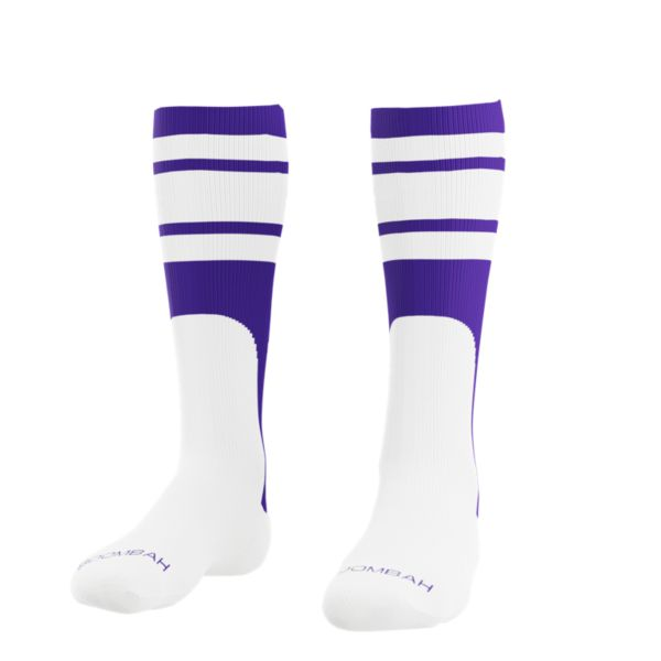 Men's Striped Mock Stirrup Socks Purple/White