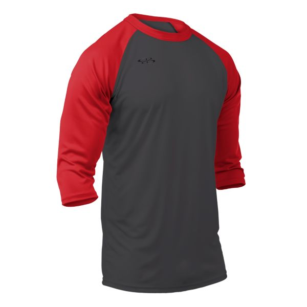 Men's Cannon Performance 3/4 Sleeve Shirt Charcoal/Red