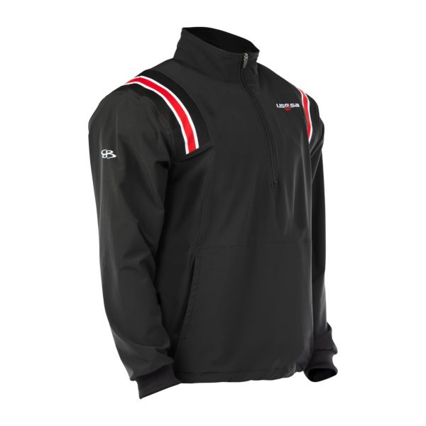 USSSA Lightweight Woven Pullover Black/Red/White