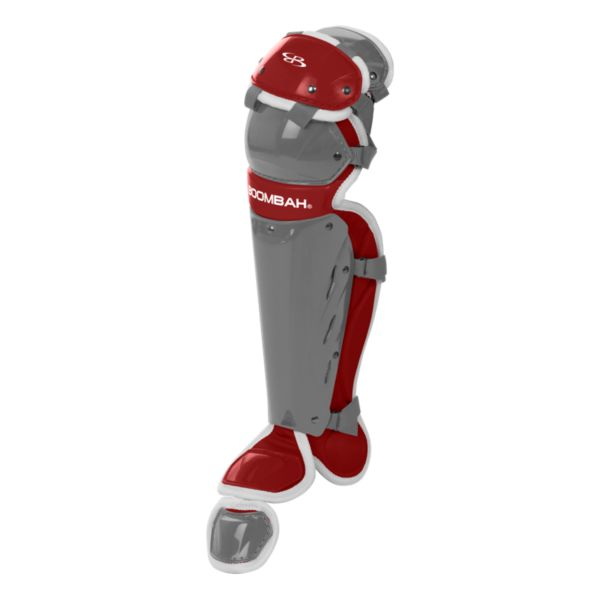 Boombah Youth DEFCON Shin Guards Dark Charcoal/Red
