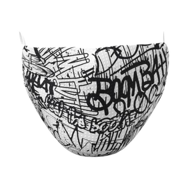Full Dye Elastic Face Mask-Unisex OSFM-Graffiti B/W Black/White