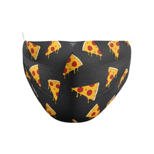 Full Dye Elastic Face Mask-Unisex OSFM-Pizza B/GD/RD Black/Gold/Red