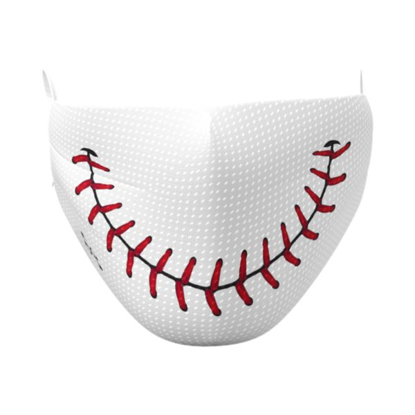 Full Dye Elastic Face Mask-Unisex OSFM-Baseball Smile W/RD White/Red