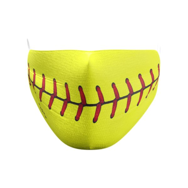 Softball Stitches Elastic Over Ear Face Mask
