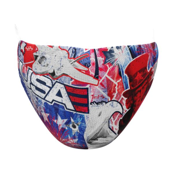 Full Dye Elastic Face Mask-Unisex OSFM-USA Liberty RB/RD/W Royal/Red/White