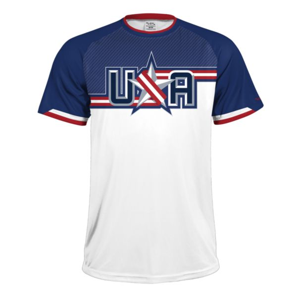 Men's USA Performance Shirt White/Royal Blue/Red