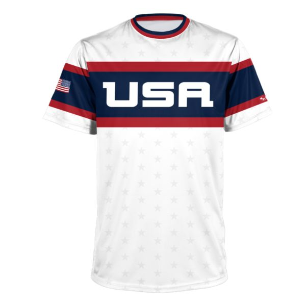 Men's USA Performance Tee White/Navy/Red