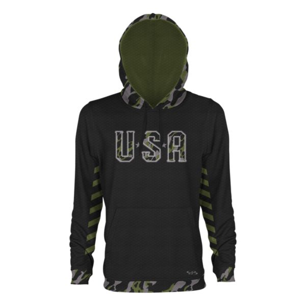 Men's USA Blade Verge Hoodie Black/Olive Drab/Steel