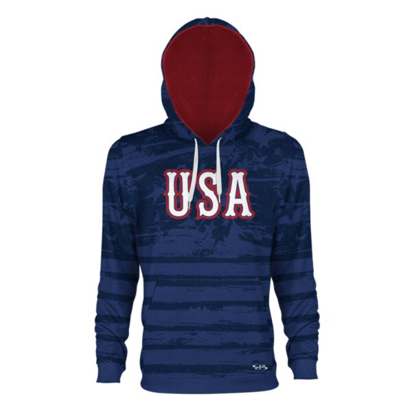 Men's USA Faded Verge Hoodie Royal/Red/Navy