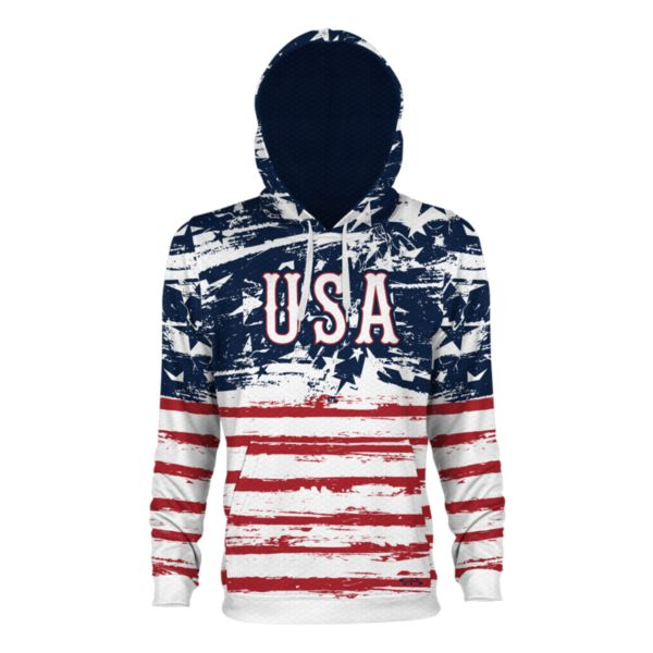 Men's USA Faded Verge Hoodie White/Navy/Red