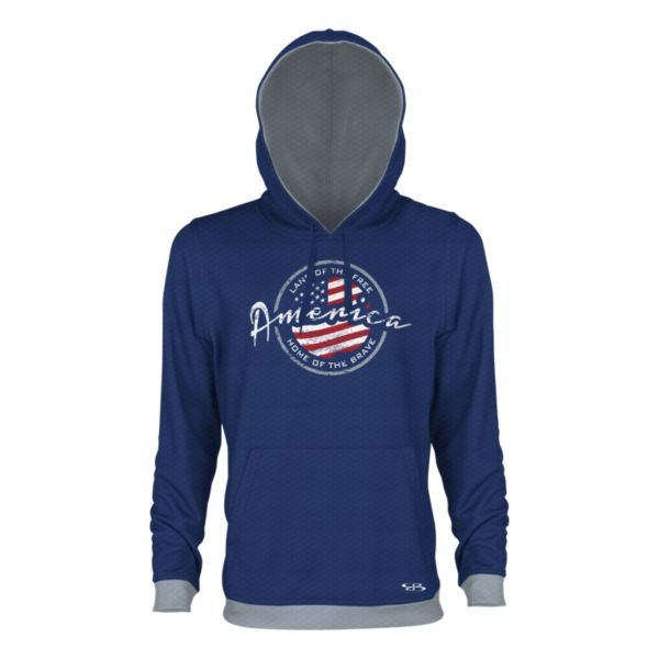 Men's USA Vintage Verge Hoodie Royal Blue/Gray/Red