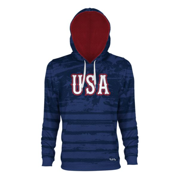 Youth USA Faded Verge Hoodie Royal/Navy/Red