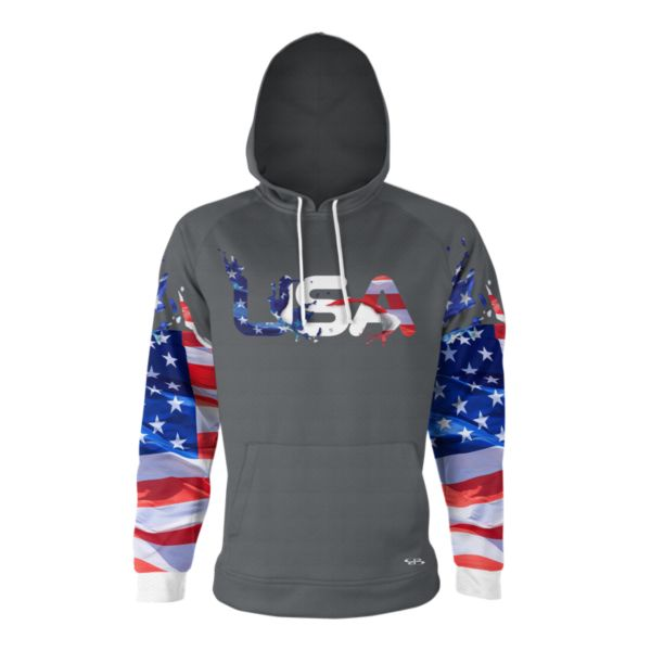 Youth USA Burst Verge Hoodie Charcoal/Red/White