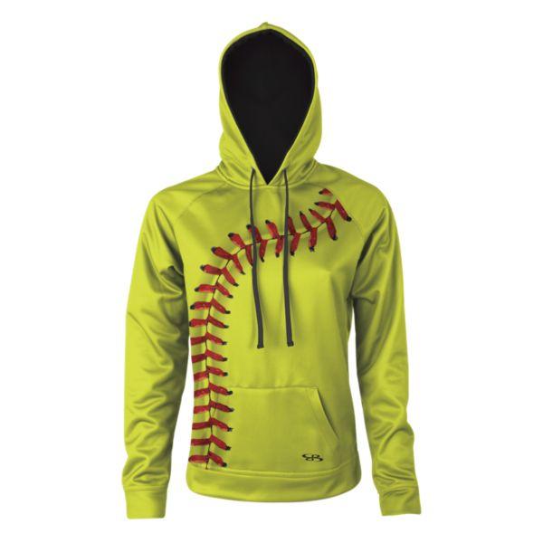 Girl's Verge Softball Seams Hoodie Optic Yellow/Red/Black