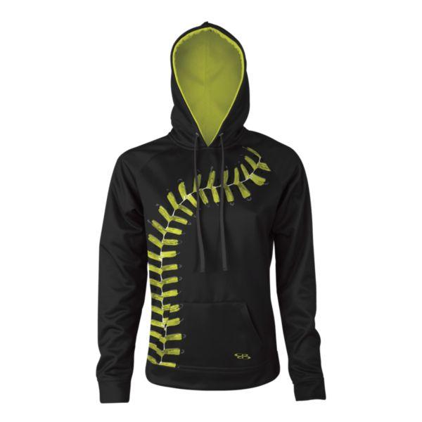 Girl's Verge Softball Black Seams Hoodie Black/Optic Yellow/Charcoal