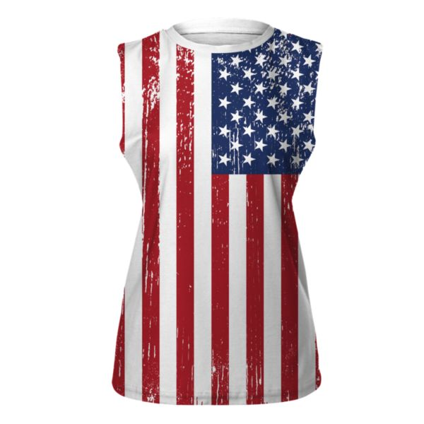 Women's USA Old Glory Cut-Off Tank Top