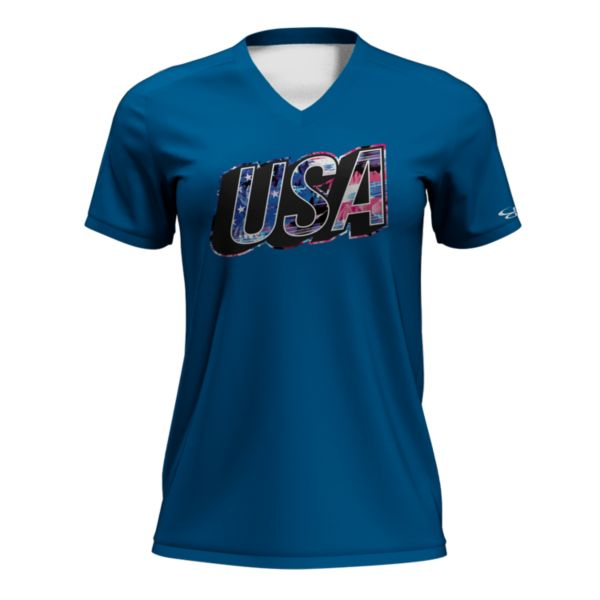 Women's Fan-Knit USA Saga Tee Azure/White/Black
