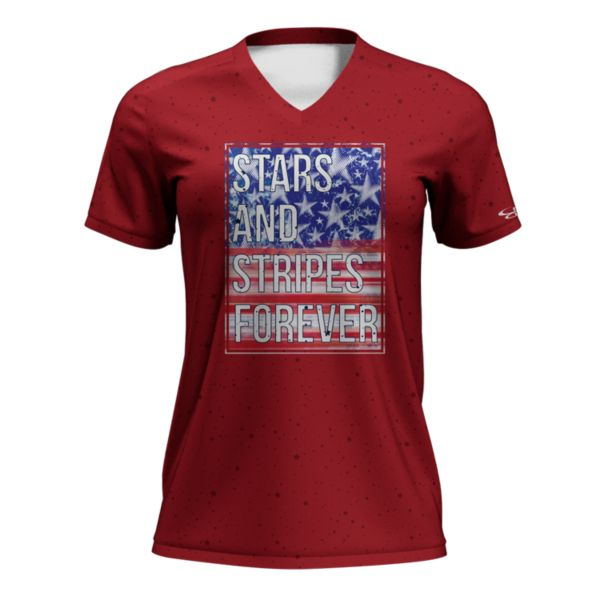 Women's Fan-Knit USA Eternal Red/Royal Blue/White