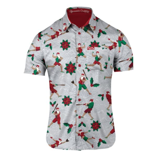 Men's St. Nick Slugger Button Down Gray/Red/Kelly Green