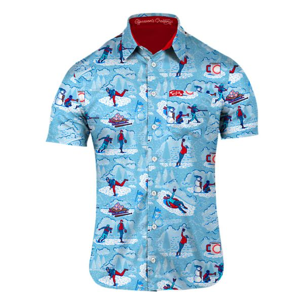 Men's No Place Like Home Plate Button Down Ice Blue/White/Red