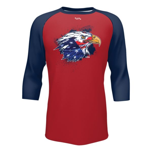 Men's 3/4 Sleeve USA Eagle Eye Tee Red/Navy/Royal