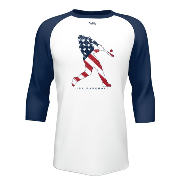 Men's 3/4 Sleeve USA Home Run White/Navy/Red