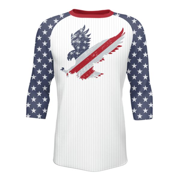 Men's 3/4 Sleeve USA Landing White/Navy/Red