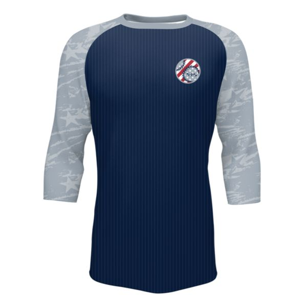 Men's 3/4 Sleeve USA Brave Navy/Gray/Red