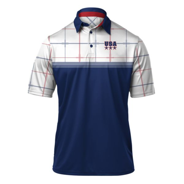 Men's USA Ringer Polo Royal/White/Red