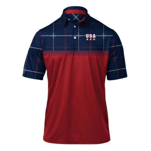 Men's USA Ringer Polo Red/Navy/White