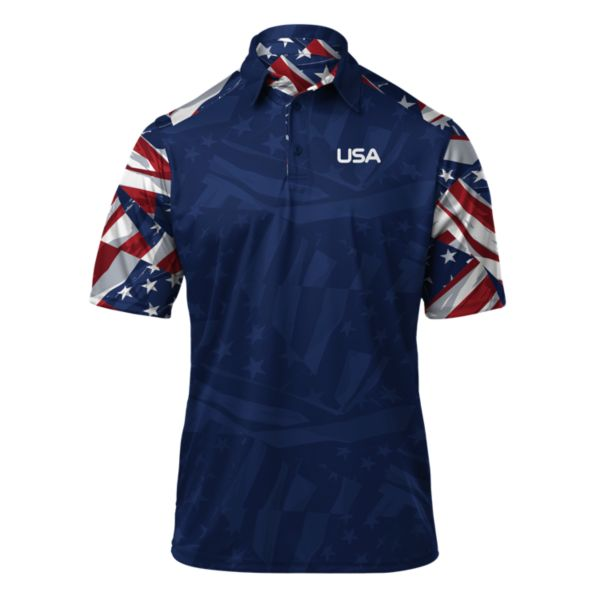Men's USA Banner Polo Royal/Navy/White
