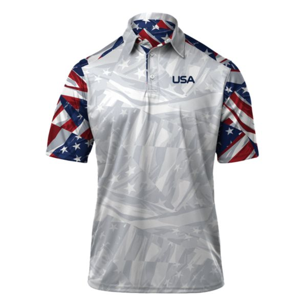 Men's USA Banner Polo White/Royal/Red