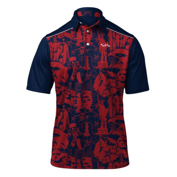 Men's USA Landmark Polo Navy/Red/White