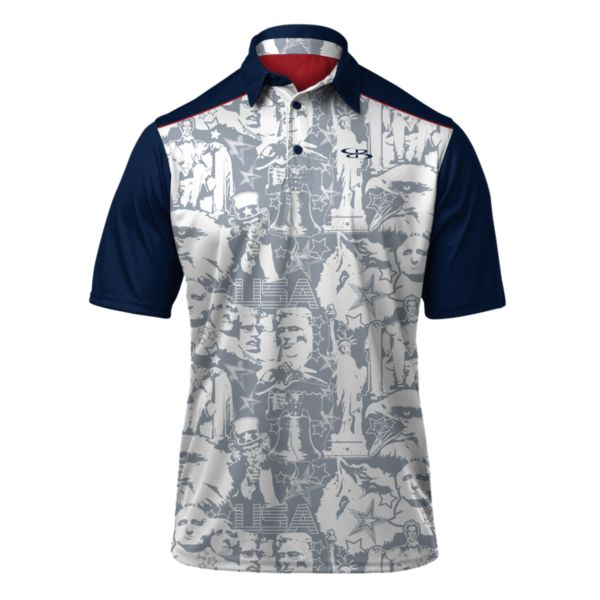 Men's USA Landmark Polo White/Gray/Navy