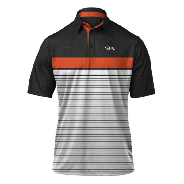 Men's Horizon Polo Black/White/Orange
