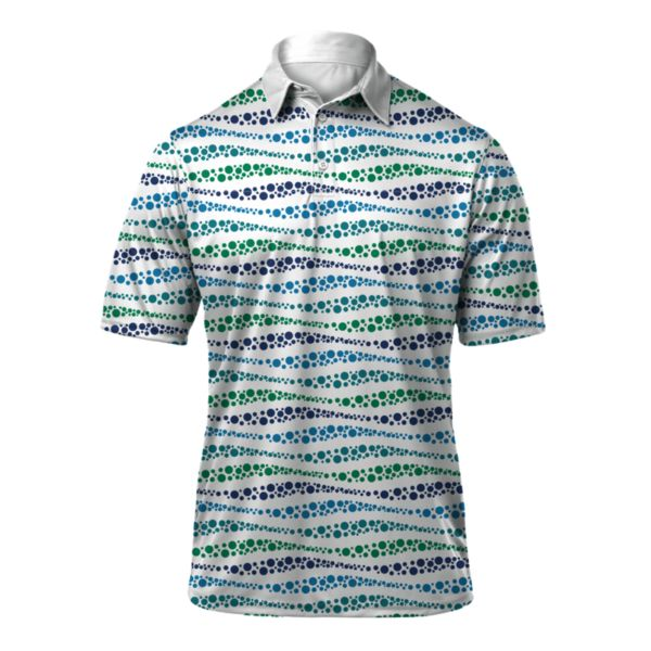 Men's Wave Loose Fit Polo White/Royal Blue/Kelly Green/Teal
