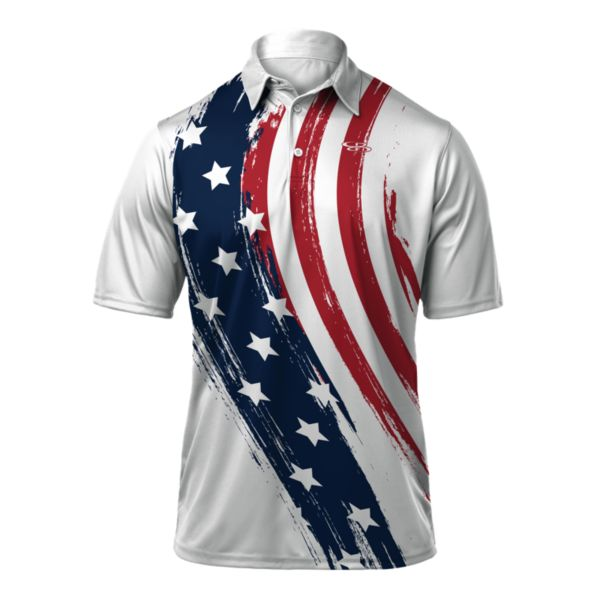 Men's USA Banner Loose Fit Polo White/Navy/Red
