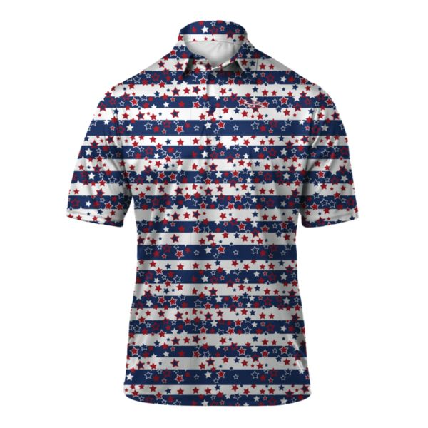 Men's USA Stars on Stripes Loose Fit Polo White/Royal/Red
