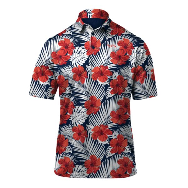 Men's Surfs Up Loose Fit Polo White/Navy/Poppy