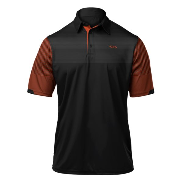 Men's Stripe Polo Black/Orange/White