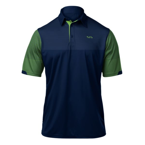 Men's Stripe Polo Navy/Lime Green/White