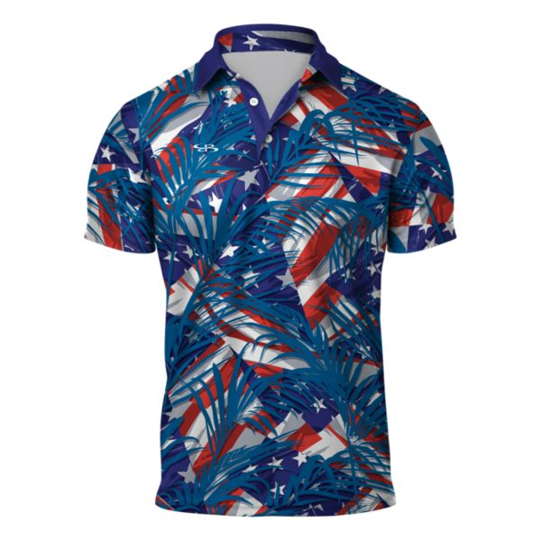 Men's USA Tropics Semi-Fitted Polo Cobalt/Azure/Poppy